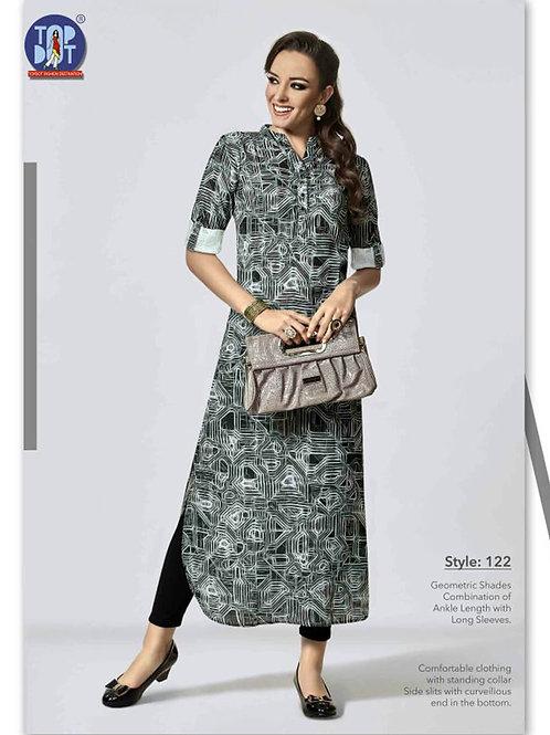 122Black and White Designer Stitched Long Kurti