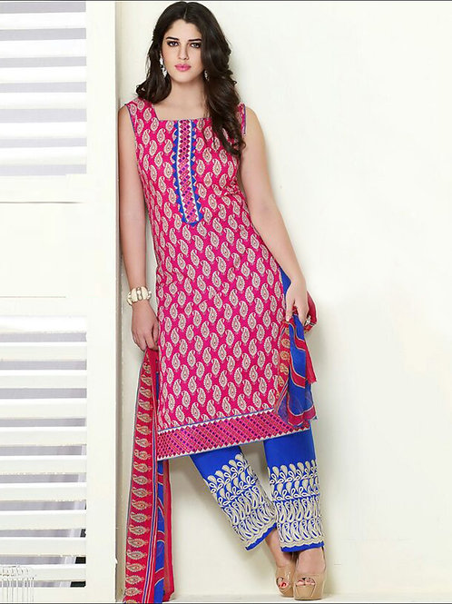 06 Deep Pink and Royal Blue Cambric Cotton Straight Suit