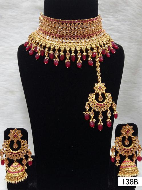 138B Maroon Bridal Wear Necklace Set With Maang Tika
