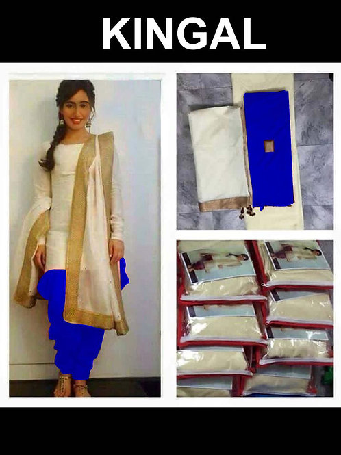 02 Cream and Blue Bhagalpuri Designer Suit