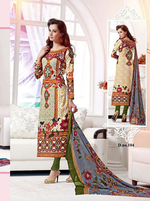 104White and Multicolor Cotton Satin Party Wear/Daily Wear Straight Suit