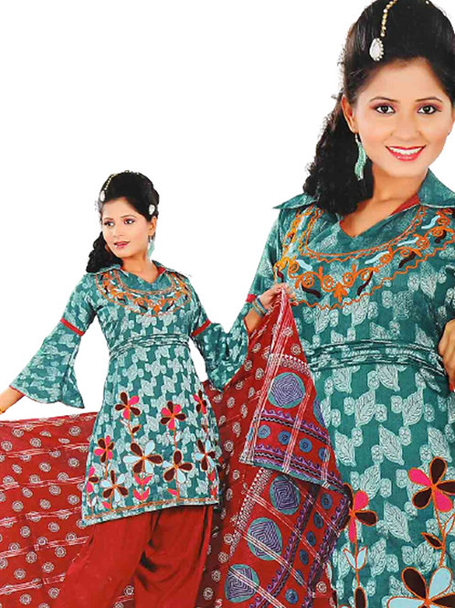1310 Peacock Green And Red Salwar Suit