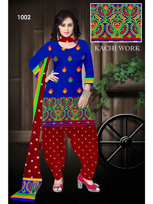 1002Blue Designer Exclusive Fancy Daily Wear Cotton Salwar Suit