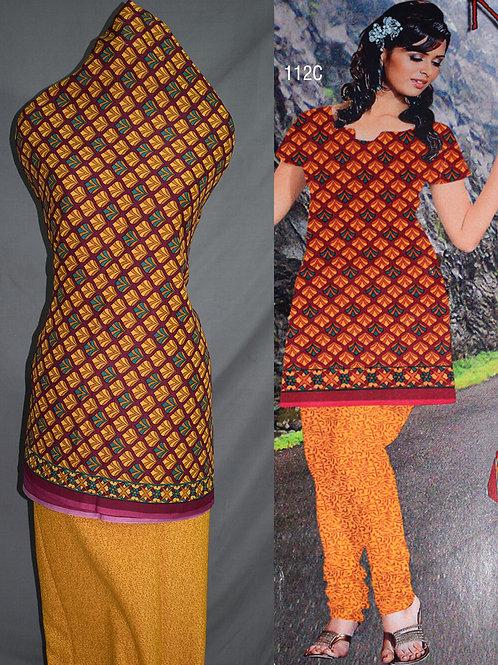 112C Maroon and Orange Printed Salwar Suit