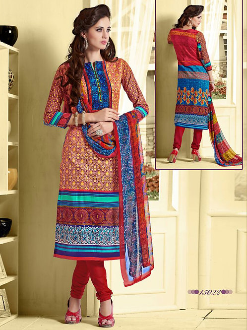 15022 Multicolor and Red Cotton Satin Straight Suit