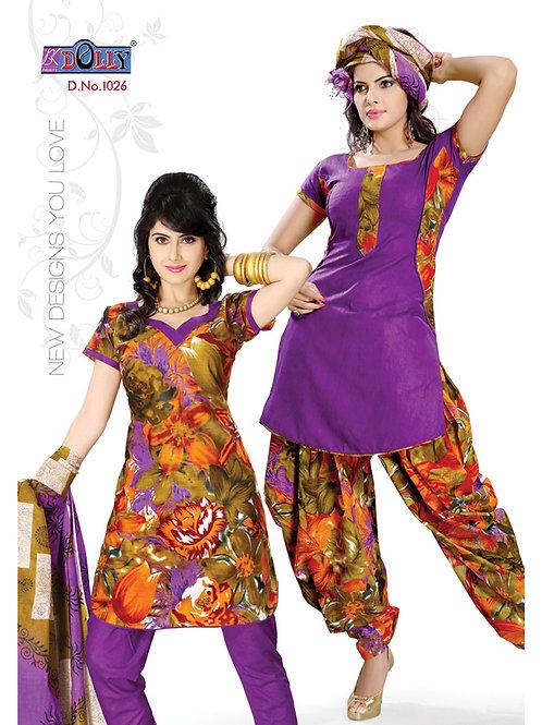 1026Purple and Brown Designer Printed Cotton Salwar Suit
