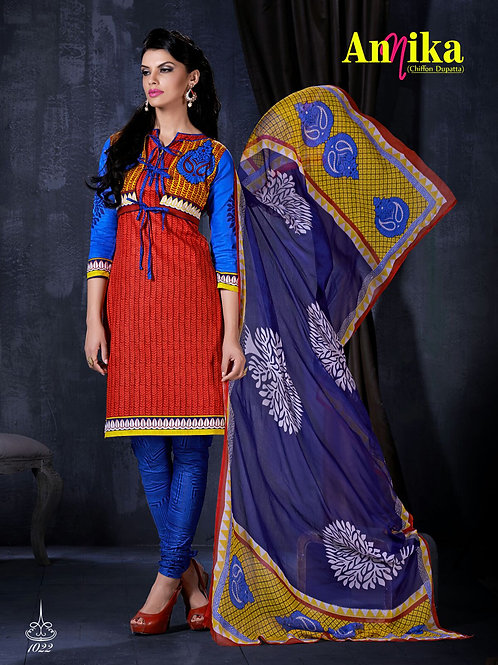 1022Red and Blue Daily Wear Printed Cambric Cotton Salwar Suit