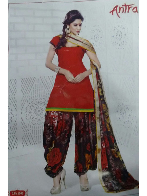 1006Red and Multicolor Daily Wear Brasso Salwar Suit