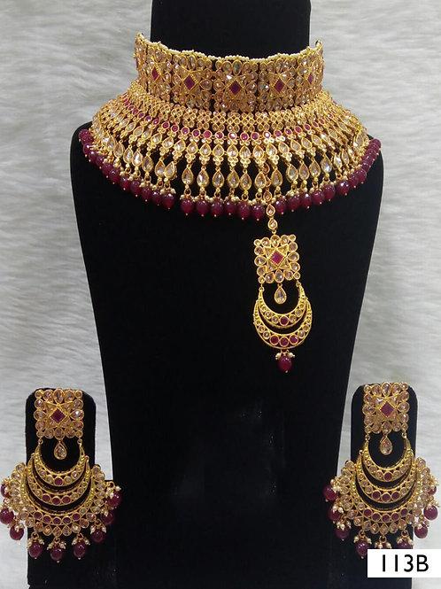 113B Maroon Bridal Wear Necklace Set With Maang Tika