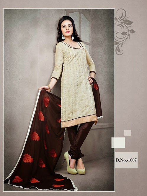 1007 Ivory Red and Dark Brown Chudidar Suit