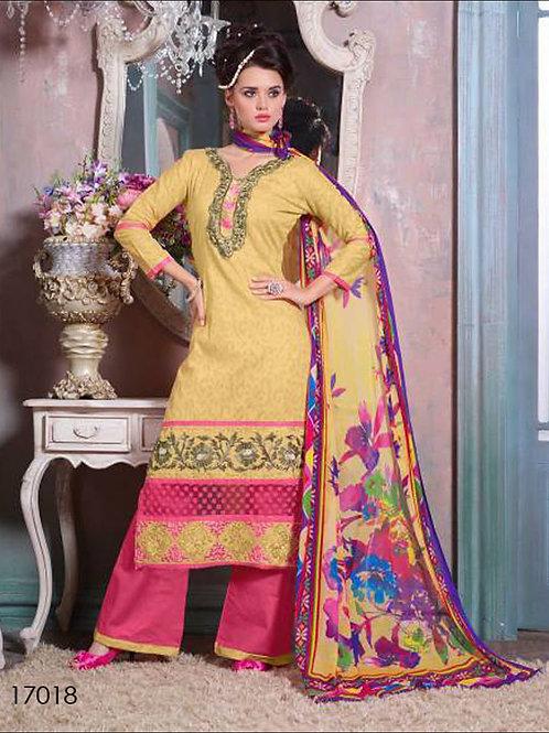 17018Light yellow & Pink Designer Plazo Suit