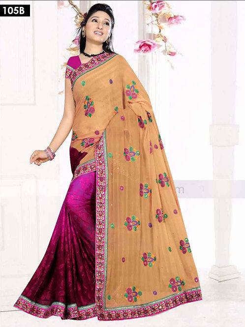 105B Khaki and Magenta Designer Saree