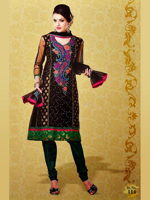 114Black and DarkOliveGreen Georgette Designer Suit