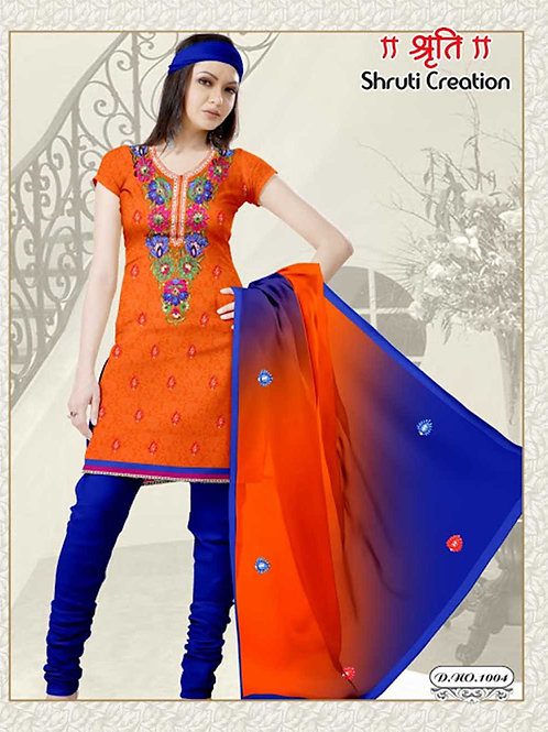 1004 Orange Red and Blue Georgette Jacquard Dress Material