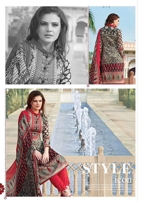 1009WheatBrown and Red Party Wear Printed Pure Glace Satin Cotton Straight Suit
