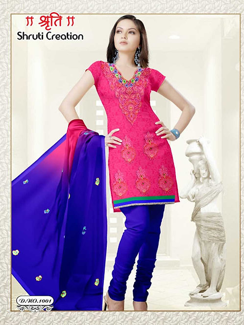 1001 Magenta and Blue Georgette Jacquard Dress Material