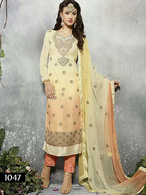 1047 Light Yellow Designer Straight Suit