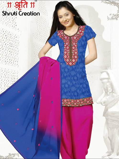1101Blue and Pink Chudidar Suit