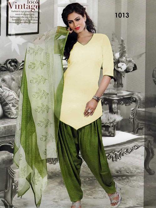 1013 Ivory Colored Mix Cotton Patiala Suit