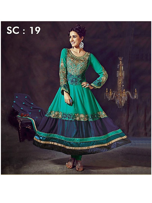 19 Peacock Green and Navy Blue Anarkali Suit
