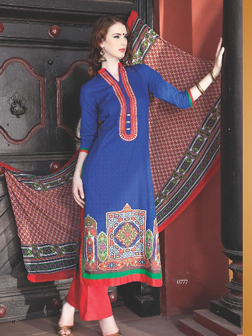 0777C Blue and Red Cotton Jacquard Straight Suit