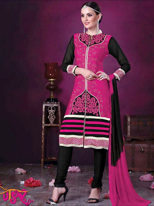 105Magenta and Black Daily Wear Embroidered Satin Cotton Designer Suit