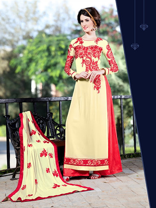 13007LightYellow and Red Embroidered Georgette Party Wear Palazzo Suit