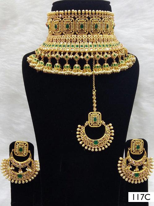 117C Green Bridal Wear Necklace Set With Maang Tika