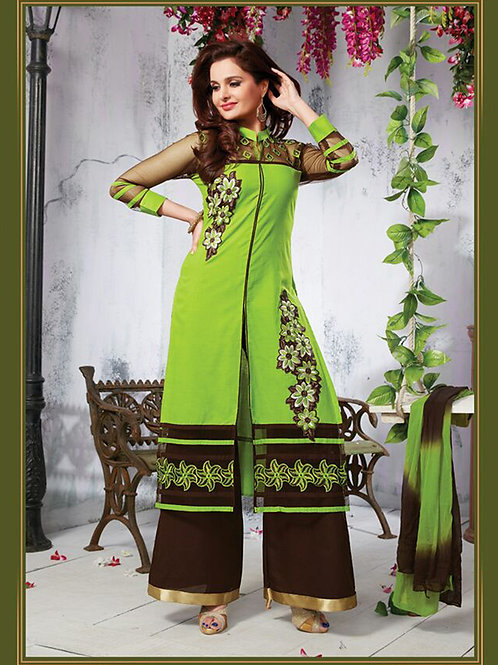 1102 Green Yellow and Bistre Brown Daily Wear Cotton Straight Suit