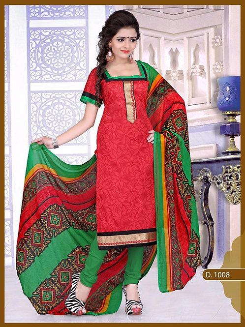 1008 Designer Red Chudidar Suit