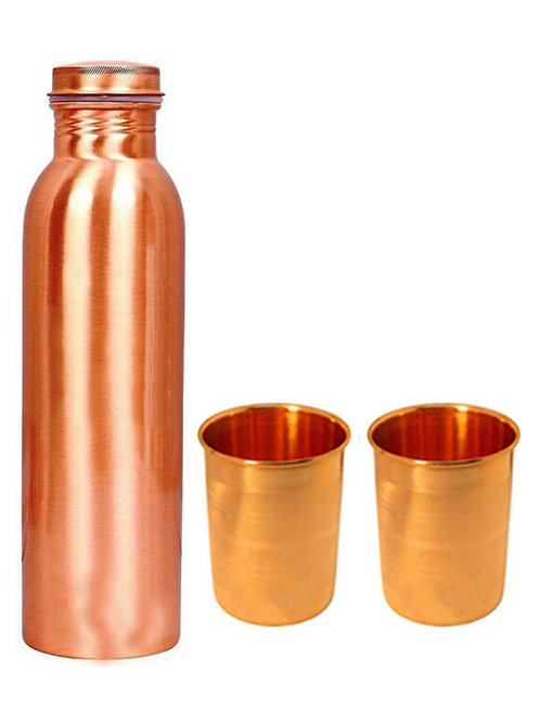 1 Plain Copper Bottle And Two Emboss Copper Glasses