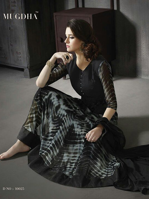 10025Black and Gray Georgette/Banarasi Silk Party Wear Anarkali Suit