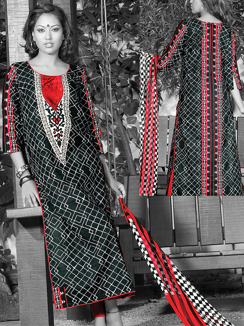 0950A Black White and Red Cotton Palazzo Suit