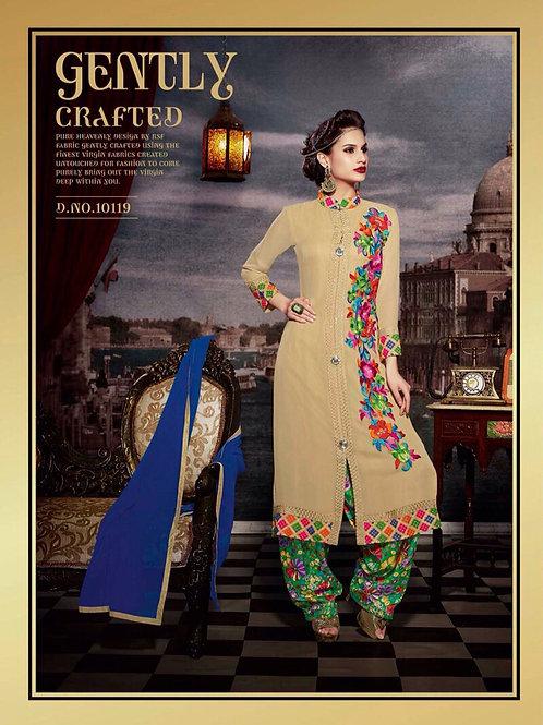 10119 Sandy Brown and Multicolor Faux Georgette Designer Suit