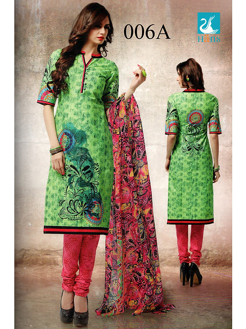 006A ParrotGreen and HotPink Lawn Cotton Chudidar Suit