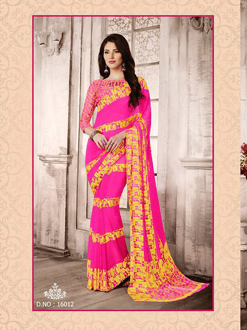 16012Pink and Yellow Exclusive Function Wear Georgette Saree