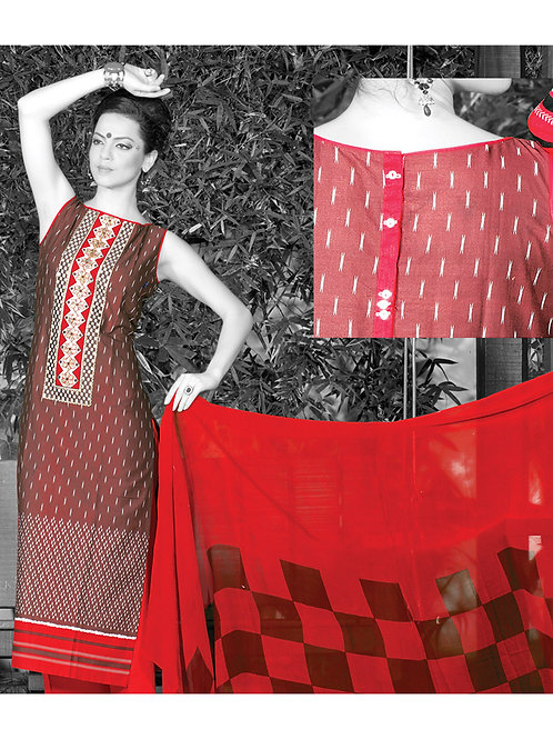0960A Red Cream and Black Cotton Palazzo Suit