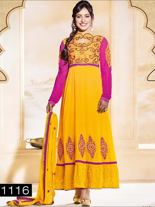 1116 Yellow and Pink Anarkali Suit
