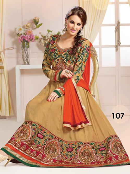 107 Burlywood Designer Anarkali Suit