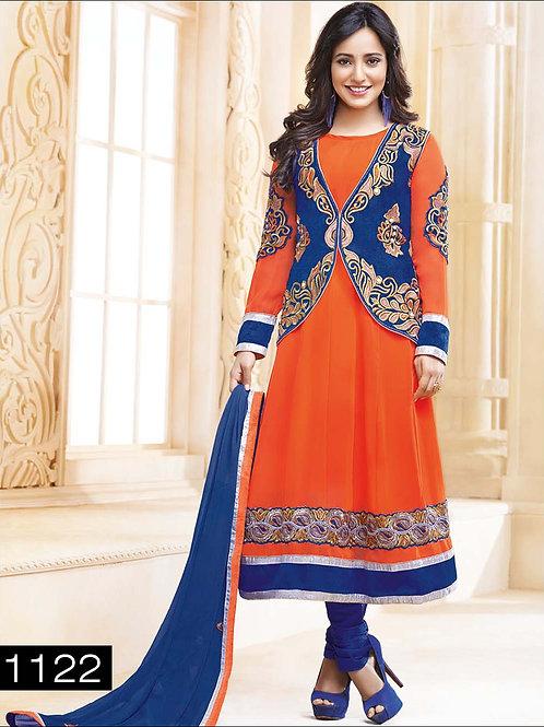 1122 Orange and Blue Anarkali Suit