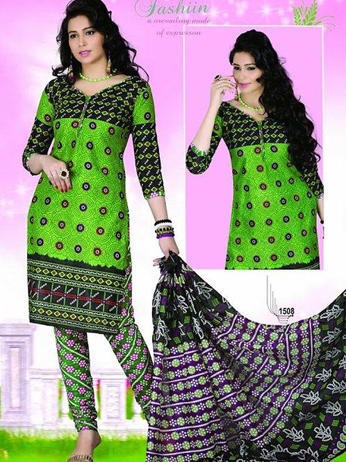 1508 Parrot Green and Black Chudidar Suit