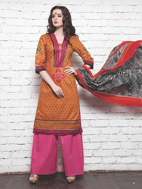 15Orange Red DarkPink Cotton Satin Pakistani Suit