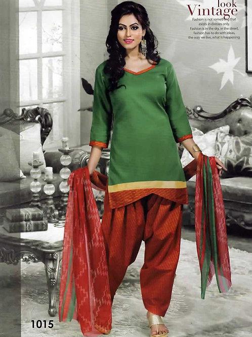 1015 Green Colored Mix Cotton Patiala Suit