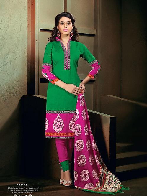 1010Green and Magenta Daily Wear Heavy Banglori Printed Salwar Suit
