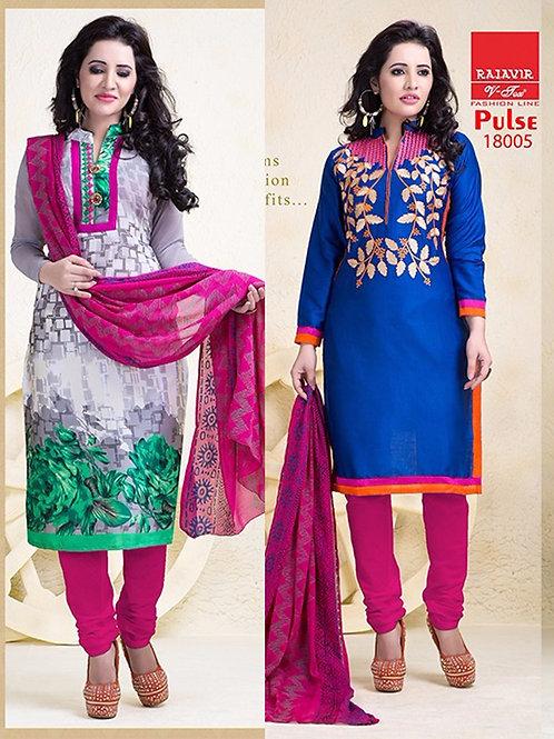 18005 Designer Gray and Blue Salwar Suit