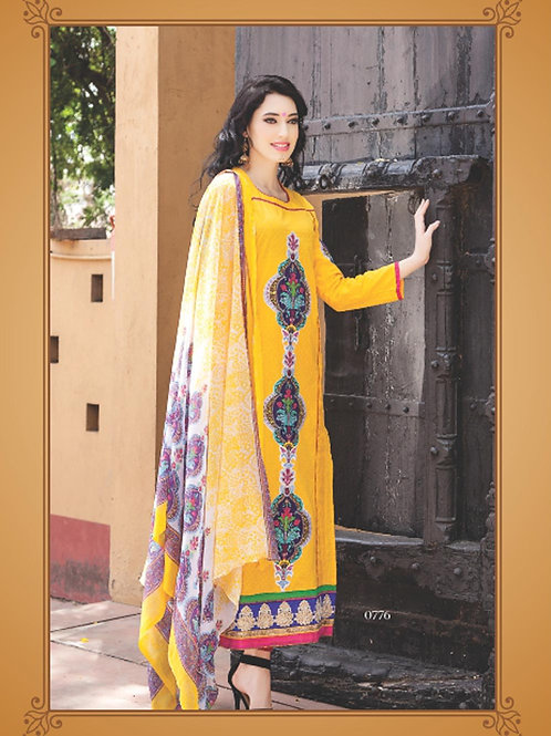 0776B Yellow and Purple Cotton Jacquard Straight Suit