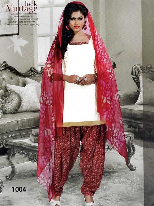 1004 White Colored Mix Cotton Patiala Suit