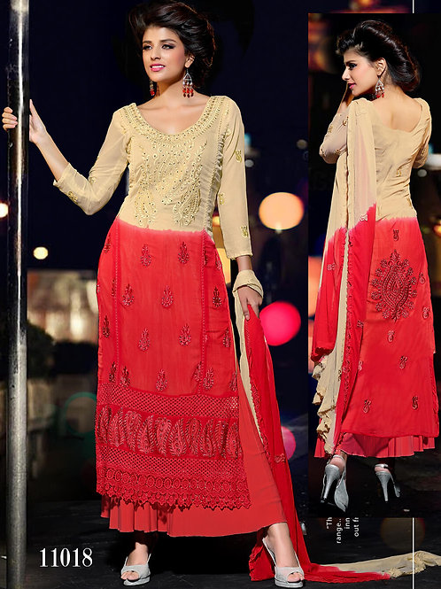 11018 Beige and Red Designer Chiffon Straight Suit