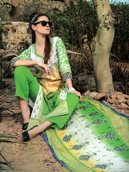 1002ParrotGreen and White Printed Cotton Daily Wear Straight Suit