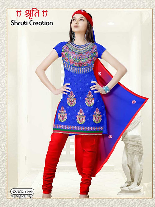 1003 Blue and Red Georgette Jacquard Dress Material